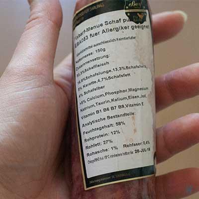 Etikett der Fix-Barf Produkte