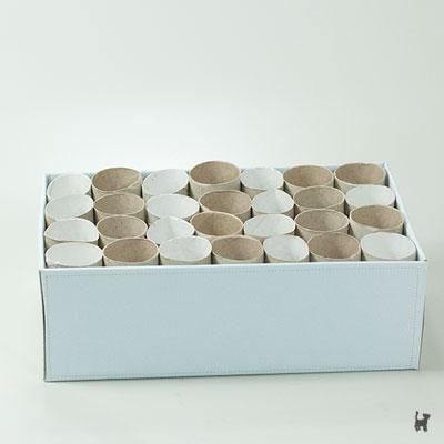 Selbstgemachte Fummelbox aus einem Schuhkarton