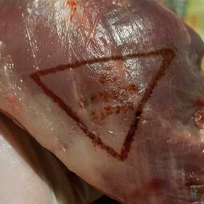 Fleischbeschaustempel dreieckig: genussuntauglich