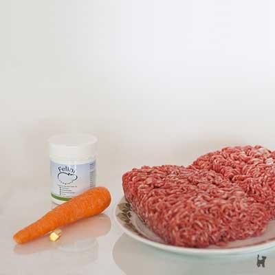Hackfleisch, Karotte, Leinsamen und Kapsel Lachsöl