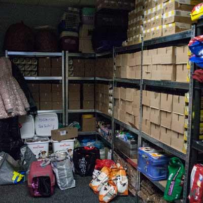 Spendenannahme und Lagerraum