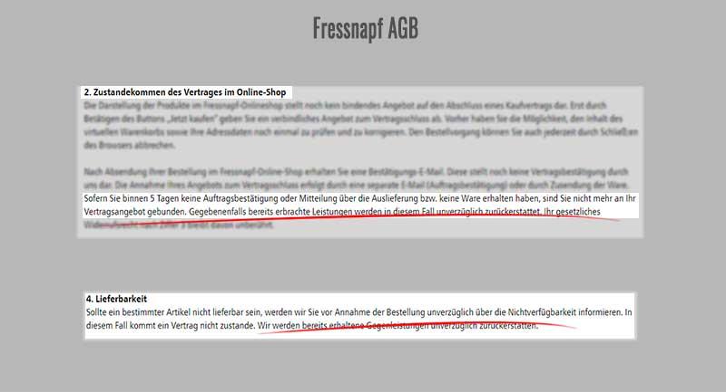 Screenshots der Fressnapf AGB