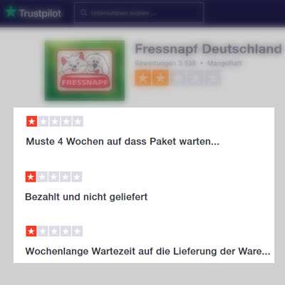 Screenshots der Trustpilot-Bewertungen des Fressnapf-Shops (Stand 16.01.2020, 14:00Uhr)