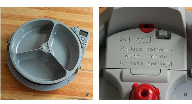 Futterschale und Batteriefach des Cat Mate C300