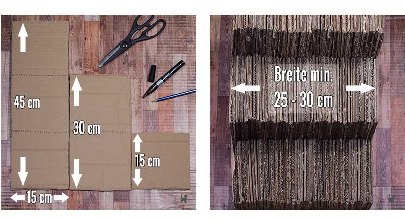 Maße der benötigten Pappstreifen und der fertigen Katzentreppe