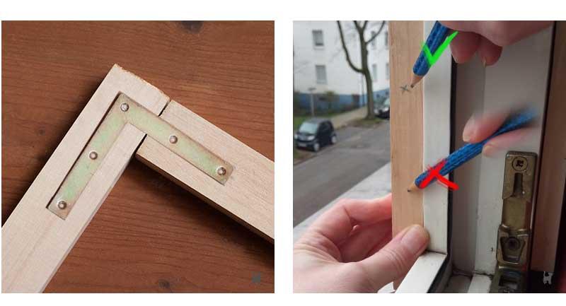 Holzlatten mit Flachwinkeln verbinden und Markierungen anzeichnen