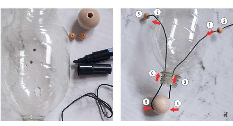 Loch-Markierungen werden durchstochen und Gumminband hindurchgefädelt