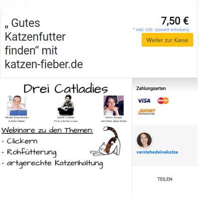 """Mein drittes Webinar """"Gutes Katzenfutter finden"""" im elopage Shop"""