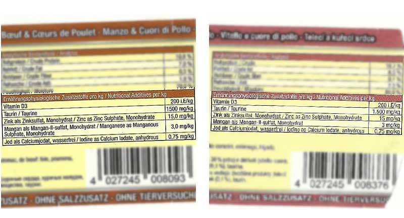Vergleich Nährstoffzusätze bei Adult- und Kittenfutter