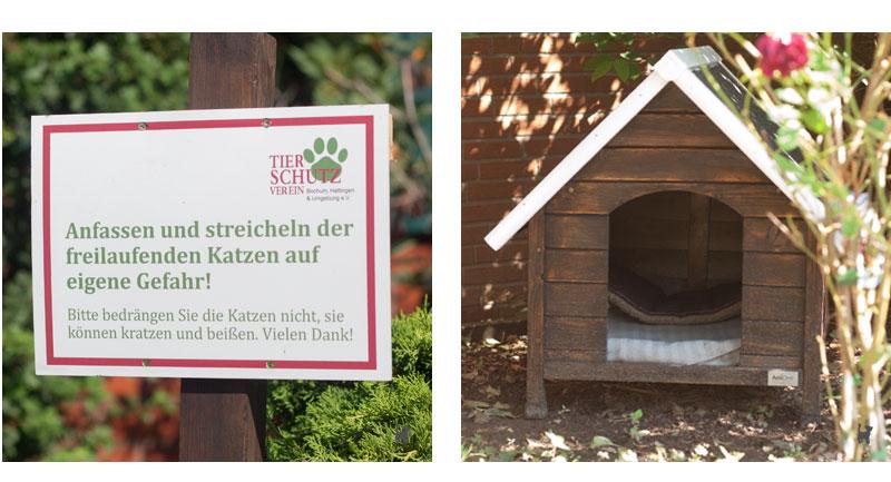 Katzenhütte und Warnschild