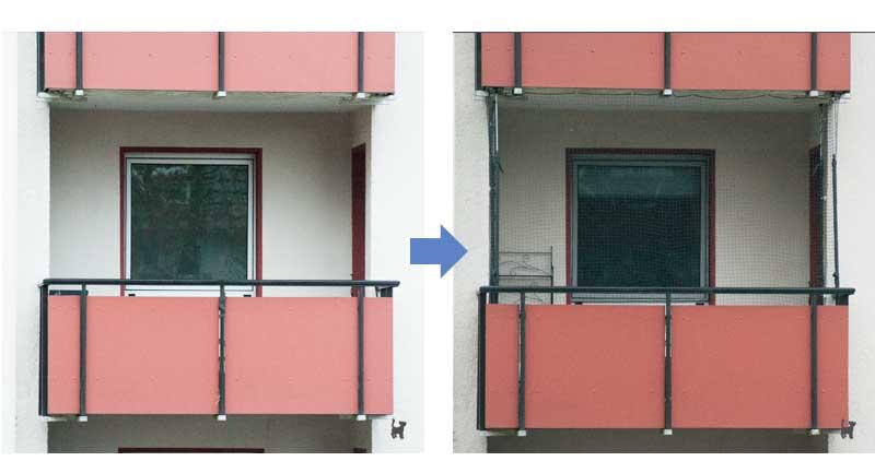 Balkon mit und ohne Katzennetz