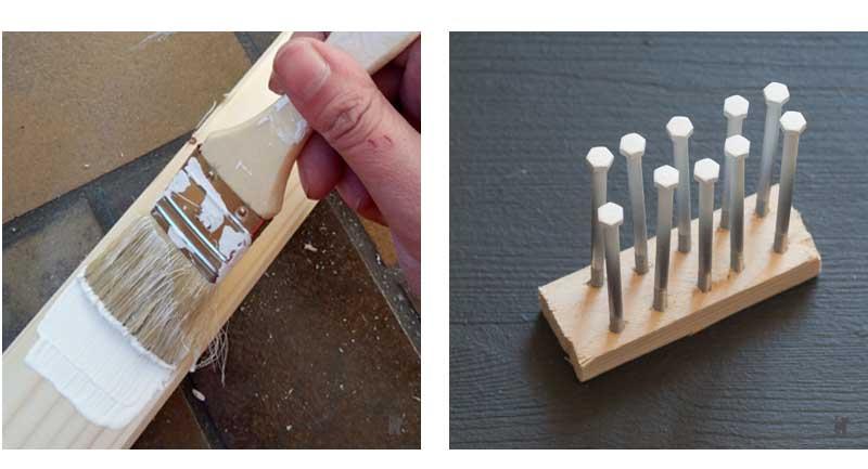 Holzleisten und Schrauben lackieren