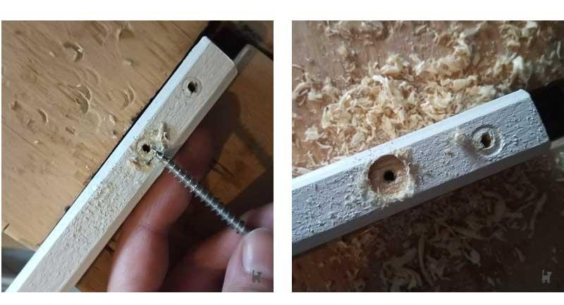 Bohrlöcher in Holzlatten