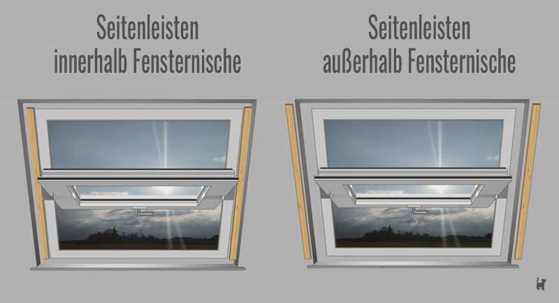 Seitenleisten innerhalb und außerhalb der Fensternische