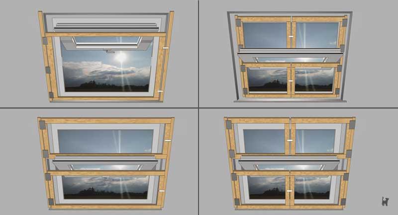 Schemata verschiedener Dachfenstersicherungen