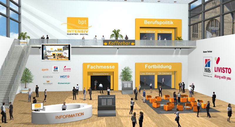 Virtueller Eingangsbereich mit Zugang zu verschiedenen Hallen