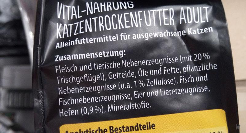 Deklaration einer Trockenfutter-Verpackung